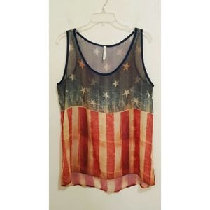 Kate Collection Tank Top Sheer Stars Strips